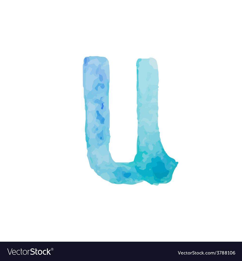 Letter u colorful watercolor aquarelle font type vector | Price: 1 Credit (USD $1)