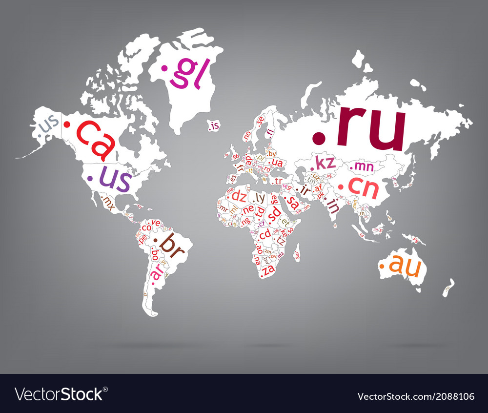 Map of the world top-level domain vector | Price: 1 Credit (USD $1)
