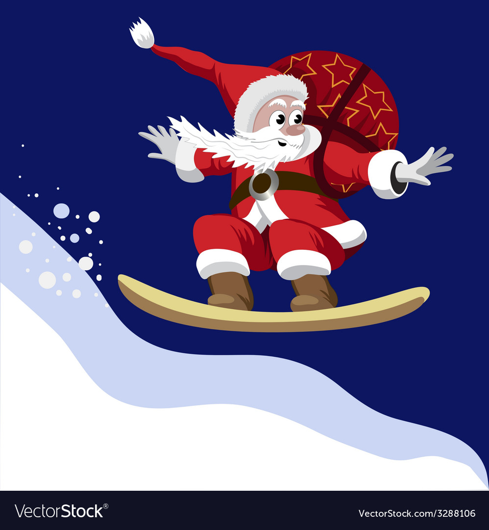 Santa claus carrying a bag of gifts on a snowboard vector | Price: 1 Credit (USD $1)