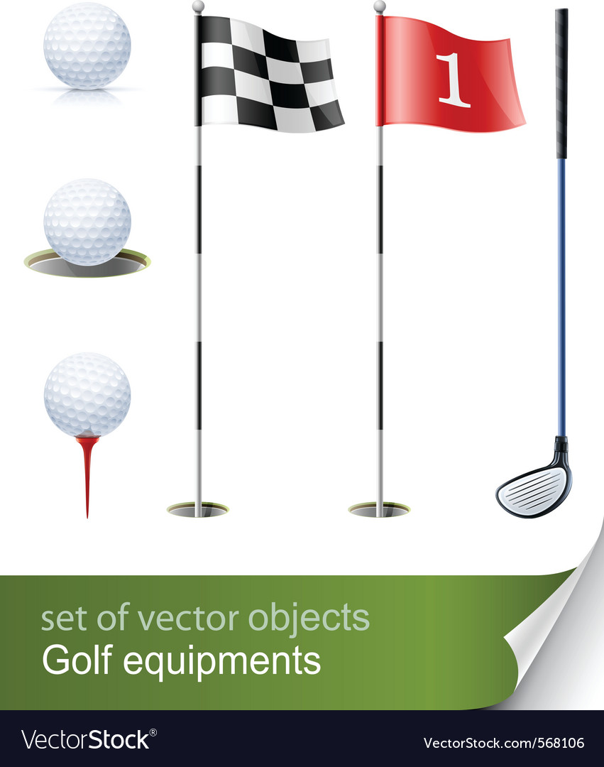 Set of golf equipment vector | Price: 1 Credit (USD $1)