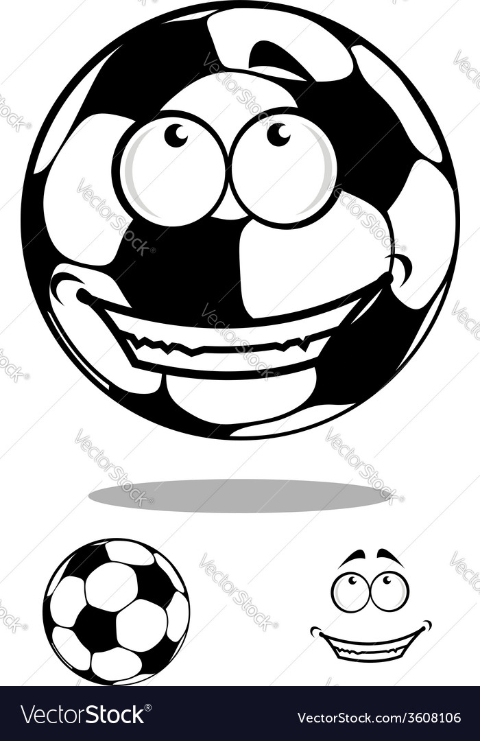 Soccer ball character happy smiling vector | Price: 1 Credit (USD $1)