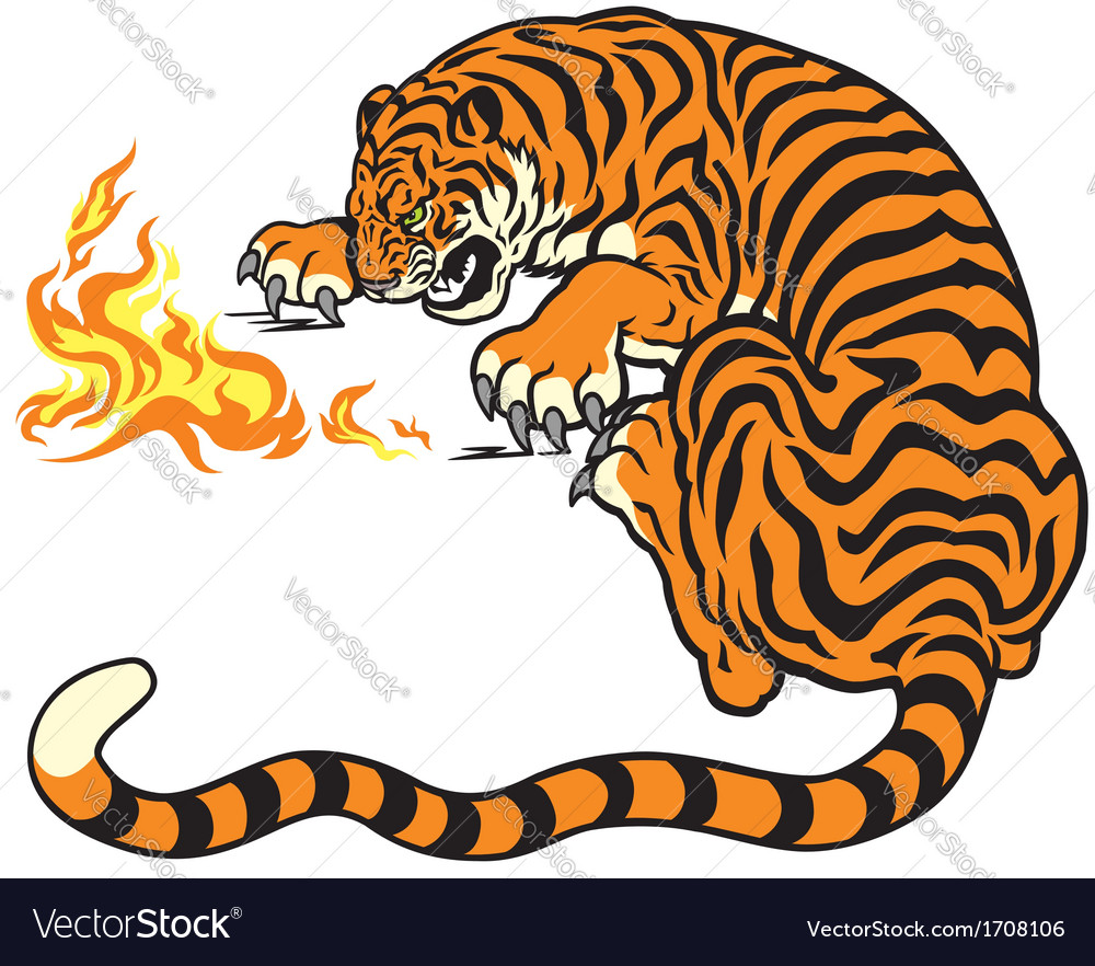 Tiger with fire vector | Price: 1 Credit (USD $1)
