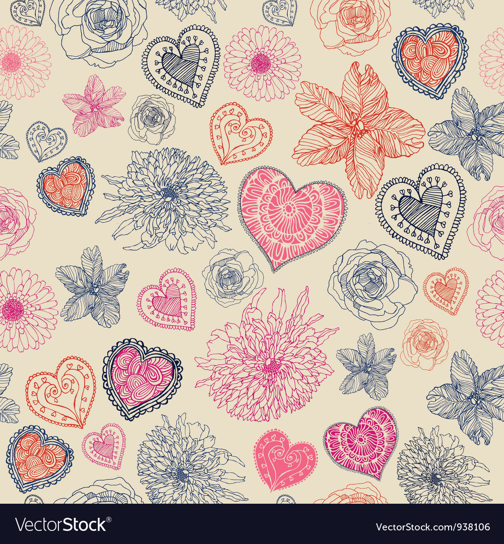 Vintage floral hearts pattern vector | Price: 1 Credit (USD $1)
