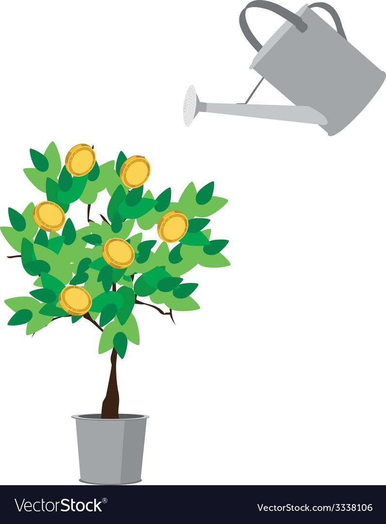 Watering money tree vector | Price: 1 Credit (USD $1)