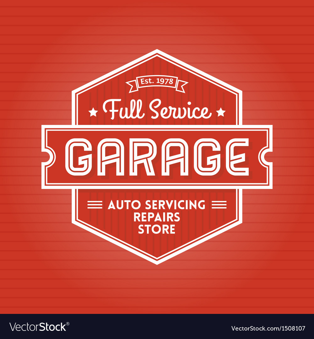 Garage label vector | Price: 1 Credit (USD $1)