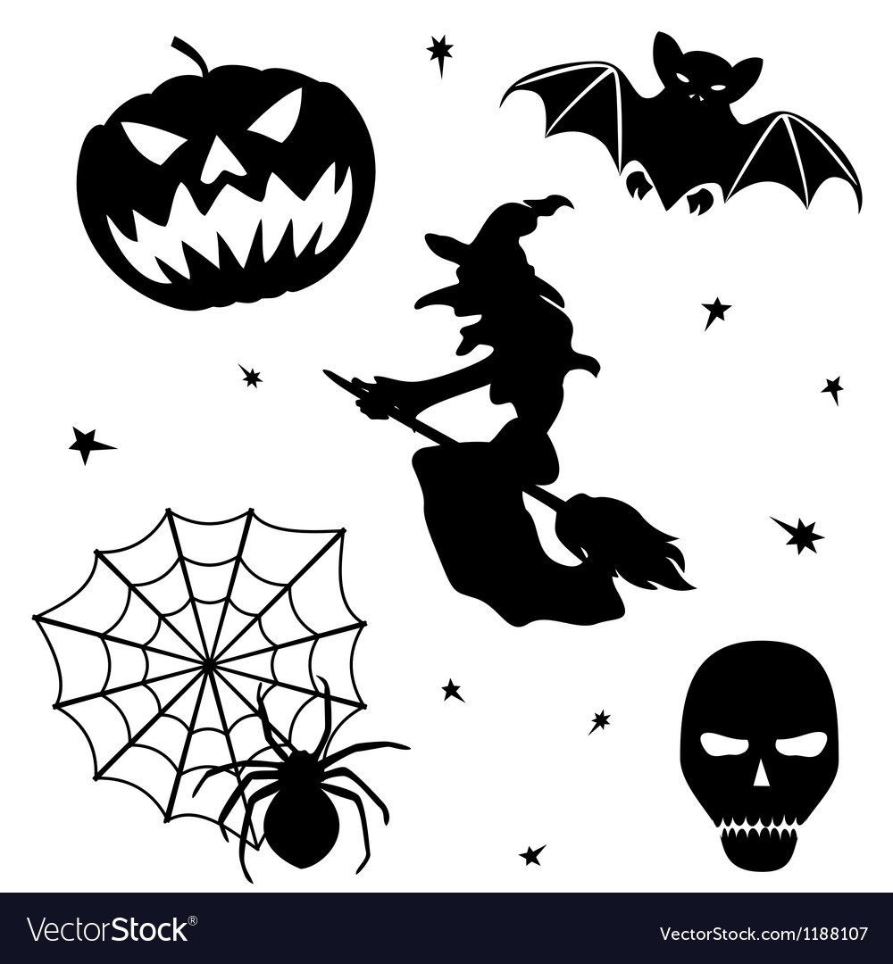 Halloween silhouette set on white background vector | Price: 1 Credit (USD $1)