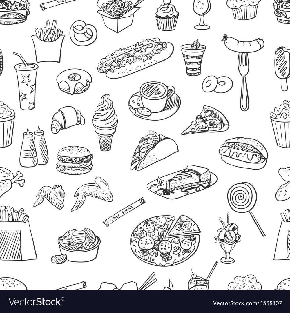 Hand drawn fast food pattern vector