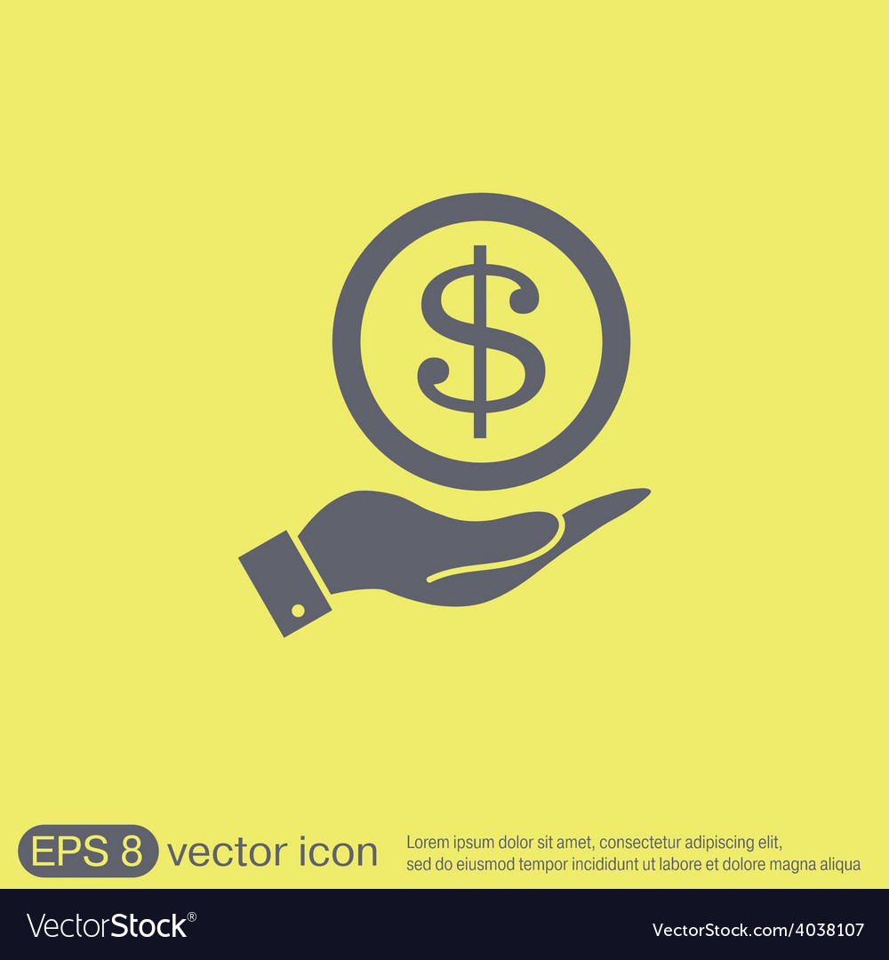 Hand holding a dollar bill symbol of money vector | Price: 1 Credit (USD $1)