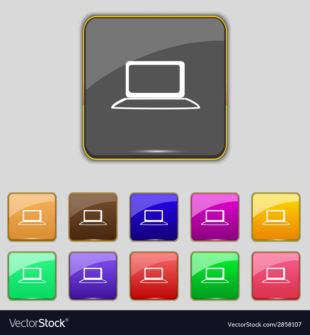 Laptop sign icon notebook pc with graph symbol vector | Price: 1 Credit (USD $1)
