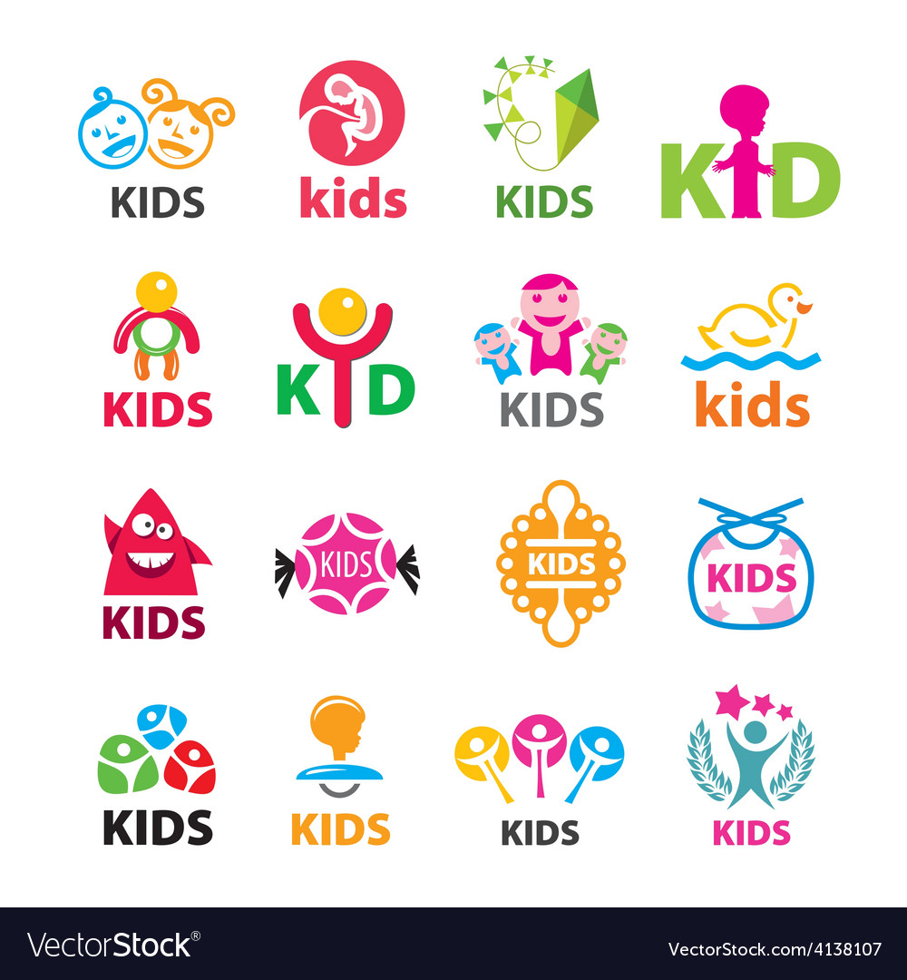 Large collection of logos children vector | Price: 1 Credit (USD $1)