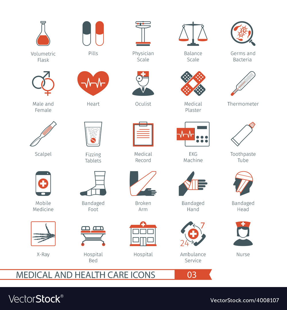 Medical and health care icons set 03 vector | Price: 1 Credit (USD $1)
