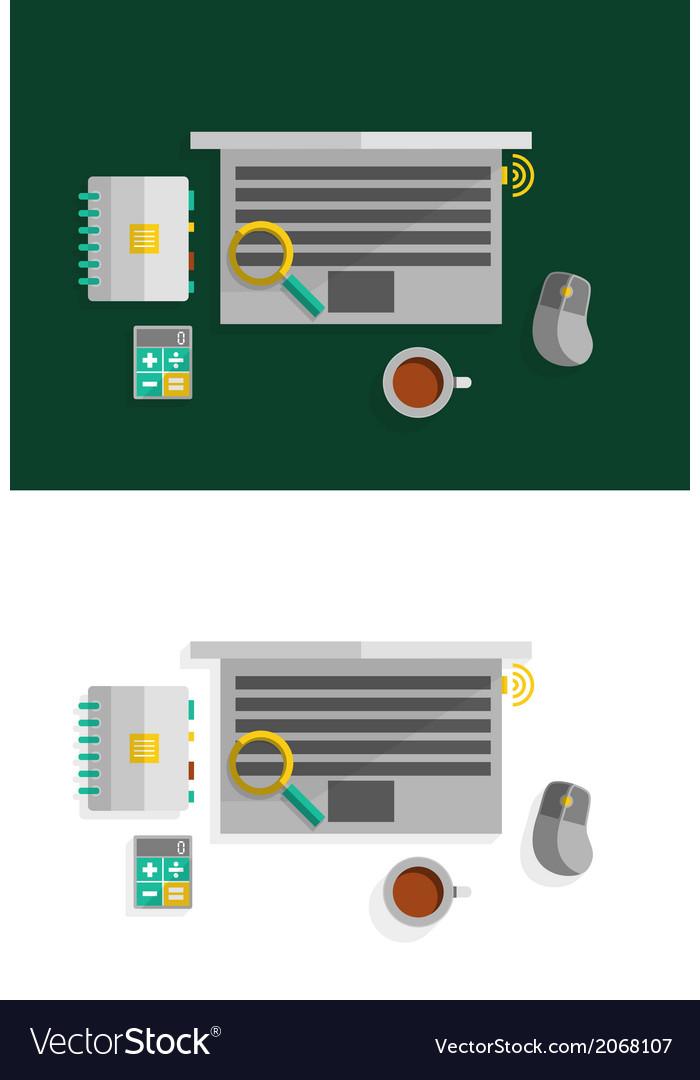 Office desktop flat design concept vector | Price: 1 Credit (USD $1)
