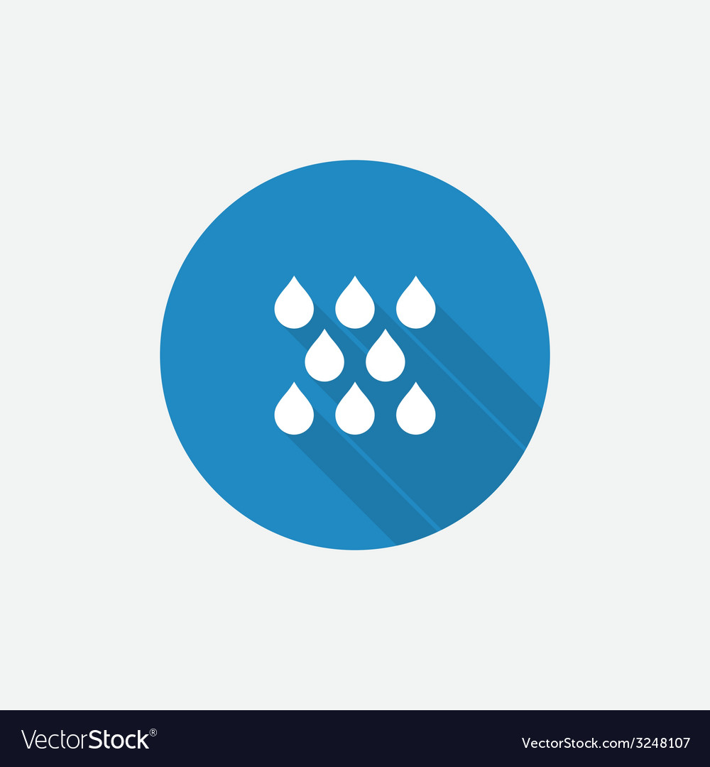 Rain flat blue simple icon with long shadow vector | Price: 1 Credit (USD $1)