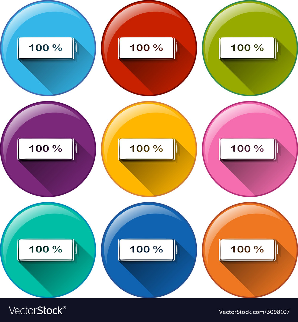 Round icons with fully charged batteries vector | Price: 1 Credit (USD $1)