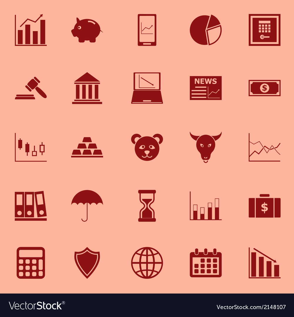 Stock market color icons on red background vector | Price: 1 Credit (USD $1)