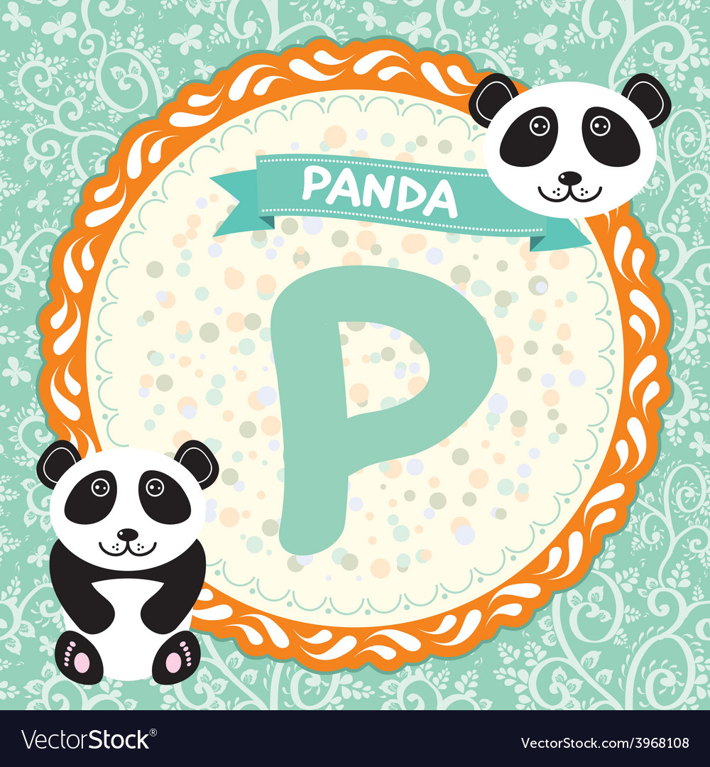 Abc animals p is panda childrens english alphabet vector | Price: 1 Credit (USD $1)