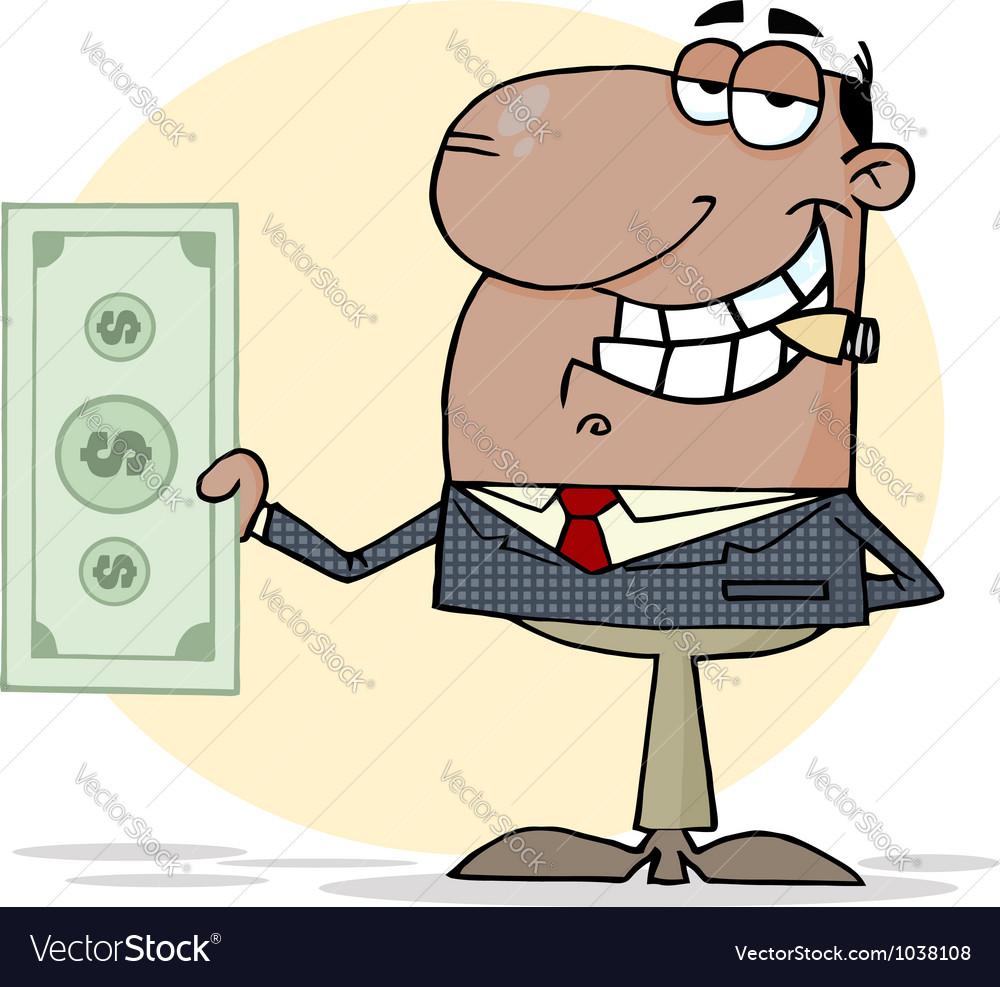 African american businessman shows big dollar vector | Price: 1 Credit (USD $1)