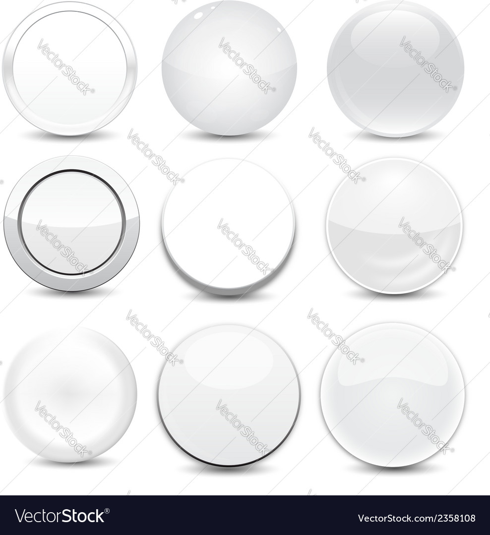 Blank white buttons vector | Price: 1 Credit (USD $1)
