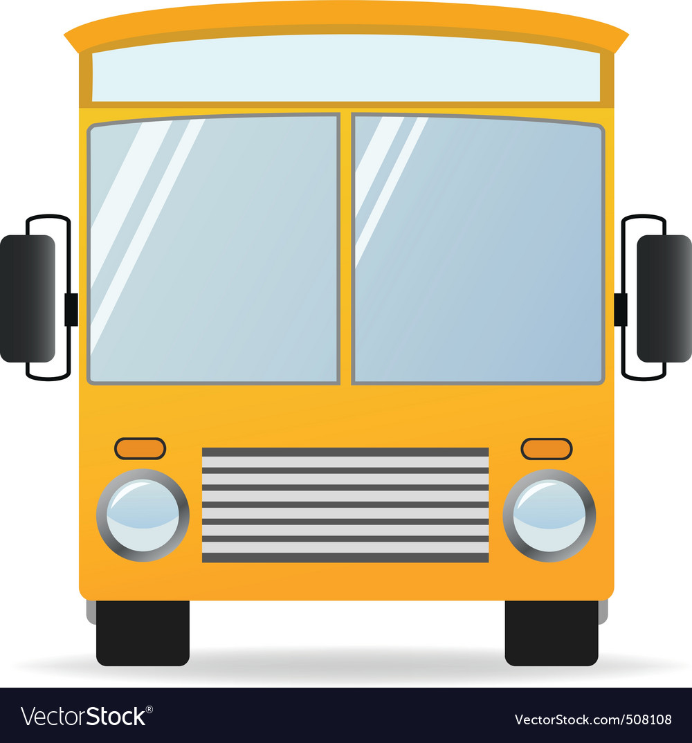 Cartoon yellow bus in front view vector | Price: 1 Credit (USD $1)
