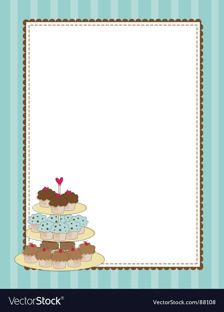 Cupcake border blue vector | Price: 1 Credit (USD $1)