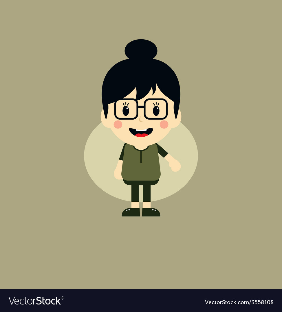 Cute girl cartoon character vector | Price: 1 Credit (USD $1)
