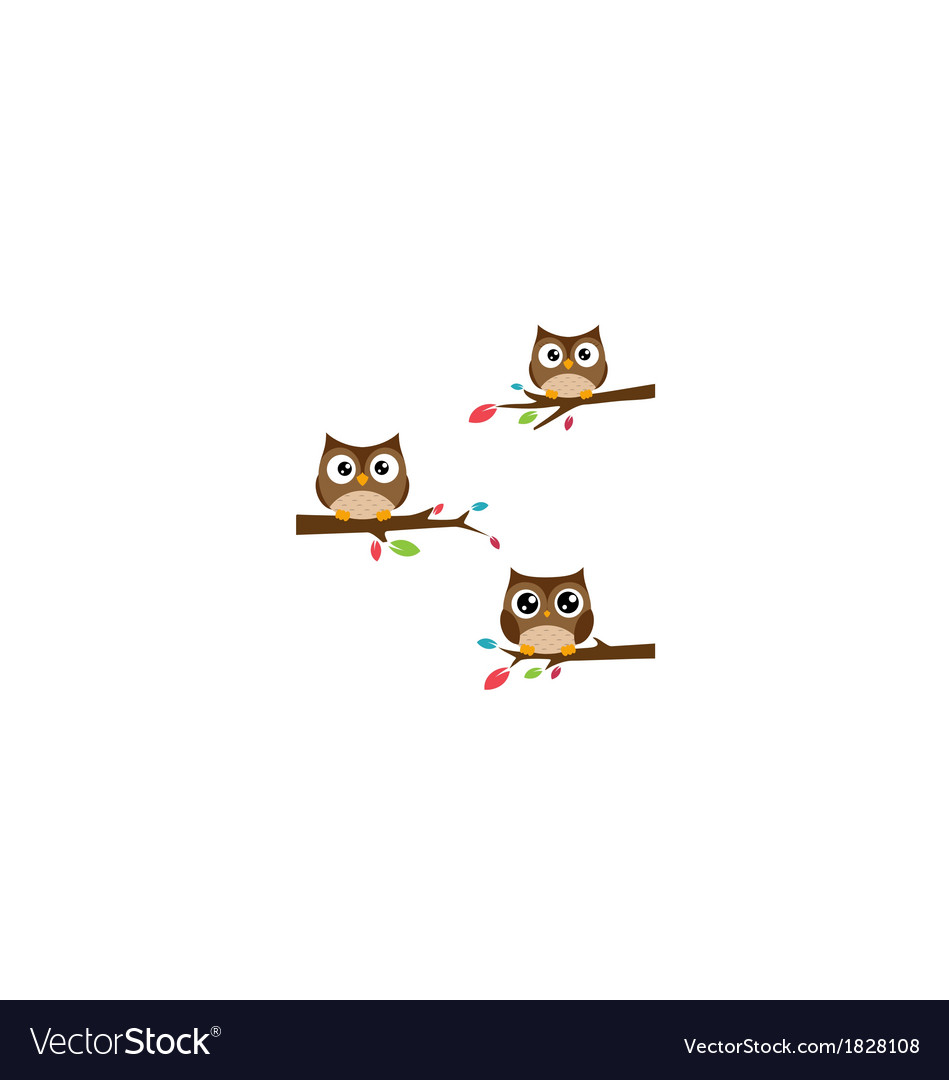 Family of owls sat on a tree branch vector | Price: 1 Credit (USD $1)