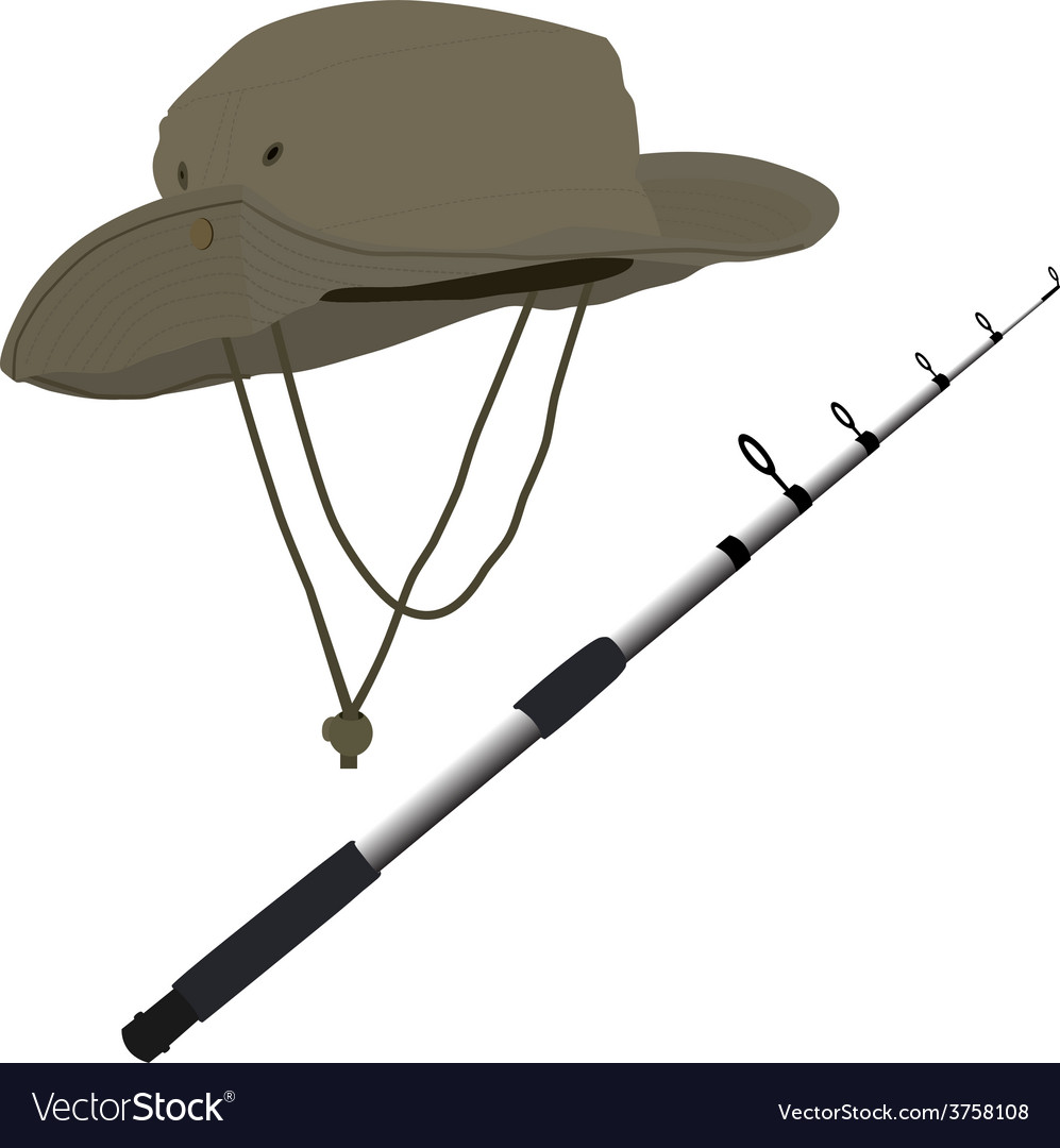 Fishing pole and hat vector | Price: 1 Credit (USD $1)