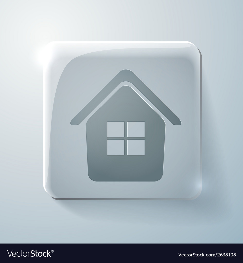 Glass square icon with highlights home vector | Price: 1 Credit (USD $1)