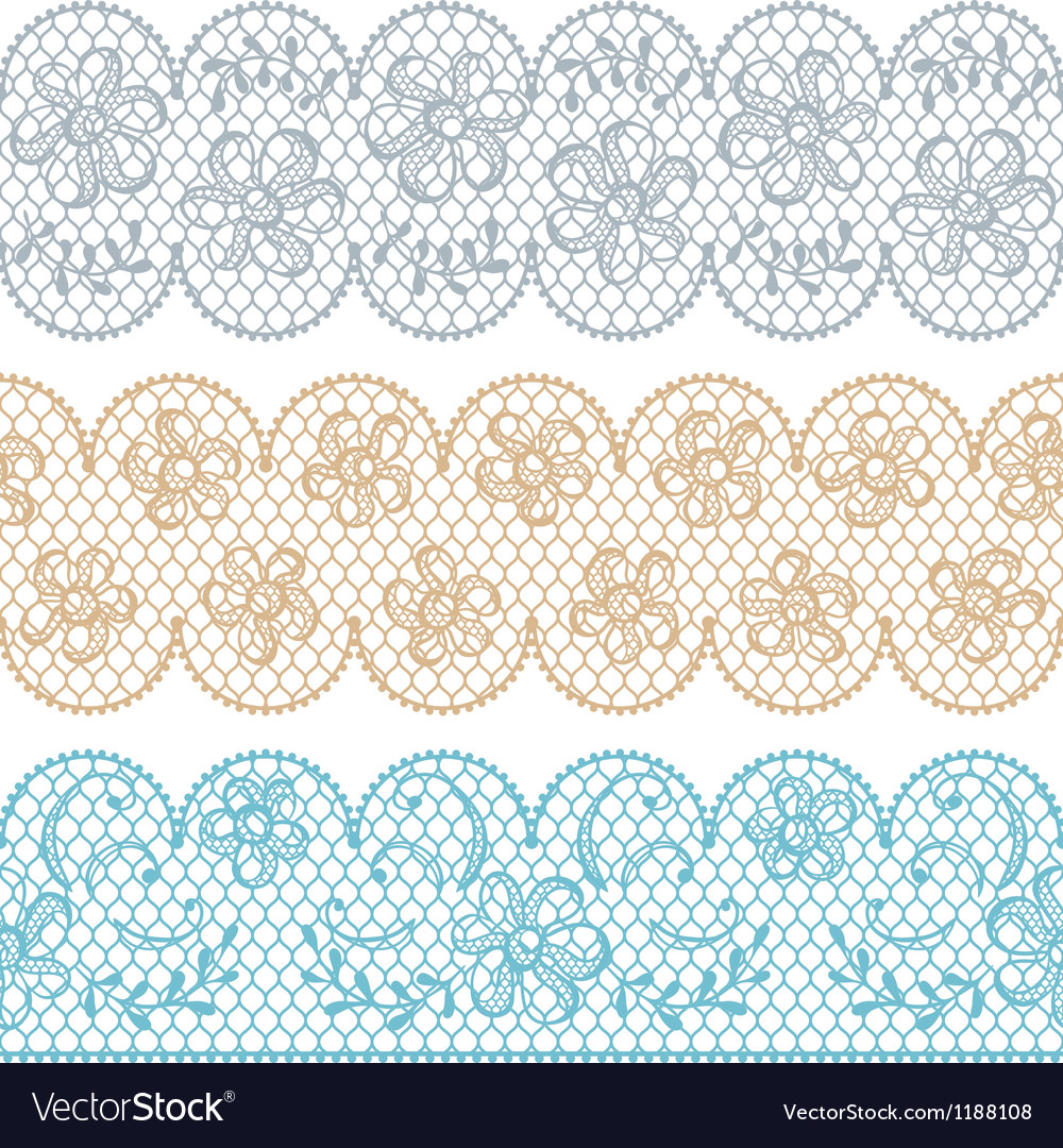 Lace fabric seamless borders with abstact flowers vector | Price: 1 Credit (USD $1)