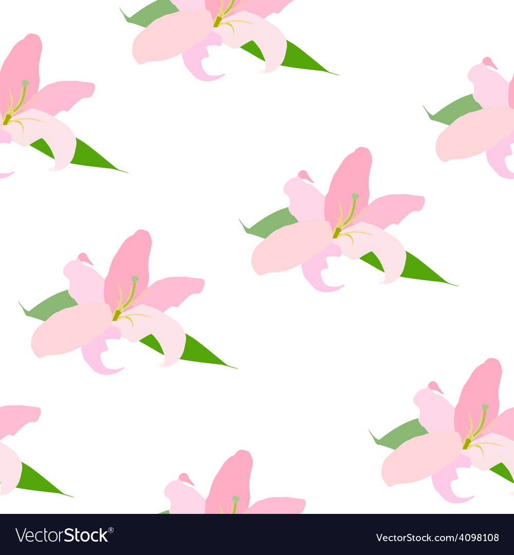 Lilly flower seamless pattern vector | Price: 1 Credit (USD $1)