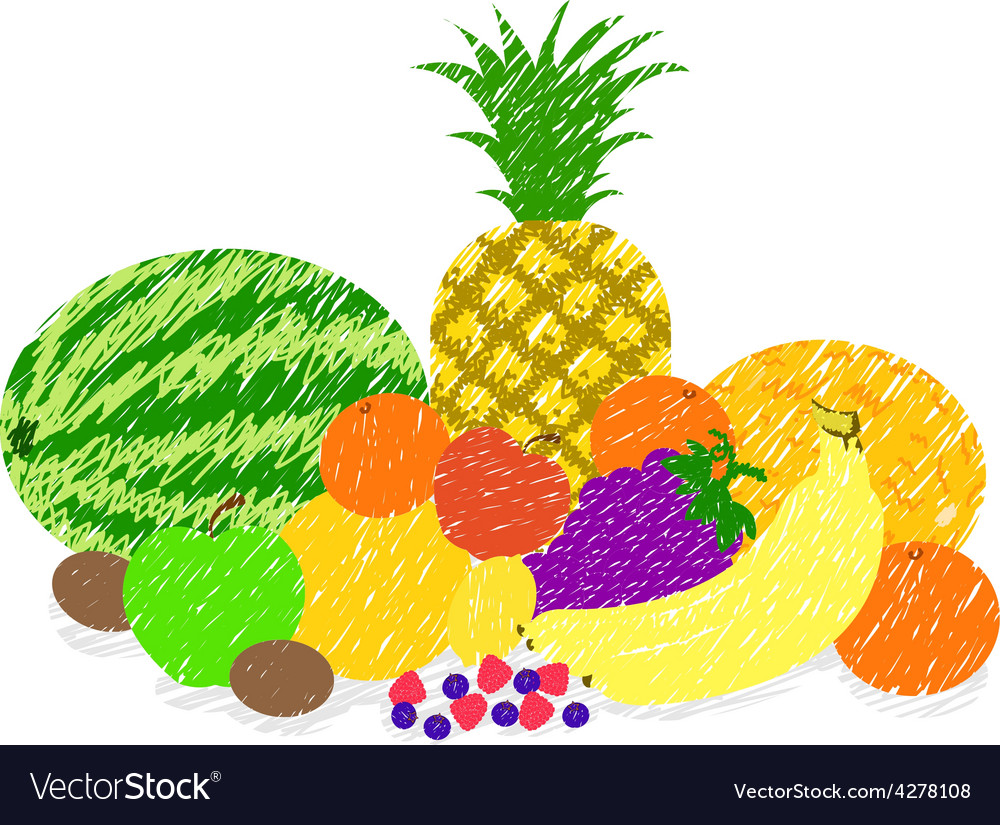 Mixed fruit paint drawing vector | Price: 1 Credit (USD $1)