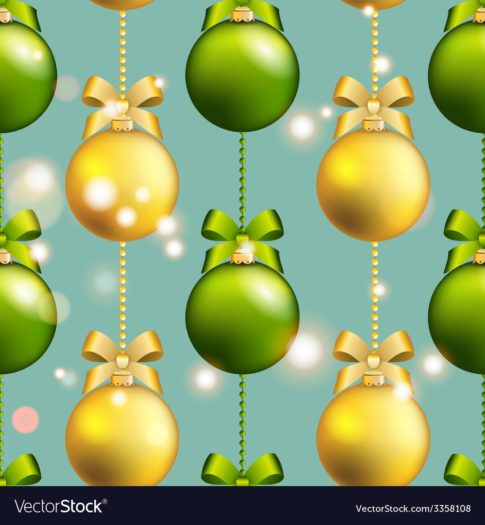New year ball pattern christmas wallpaper with bow vector | Price: 1 Credit (USD $1)