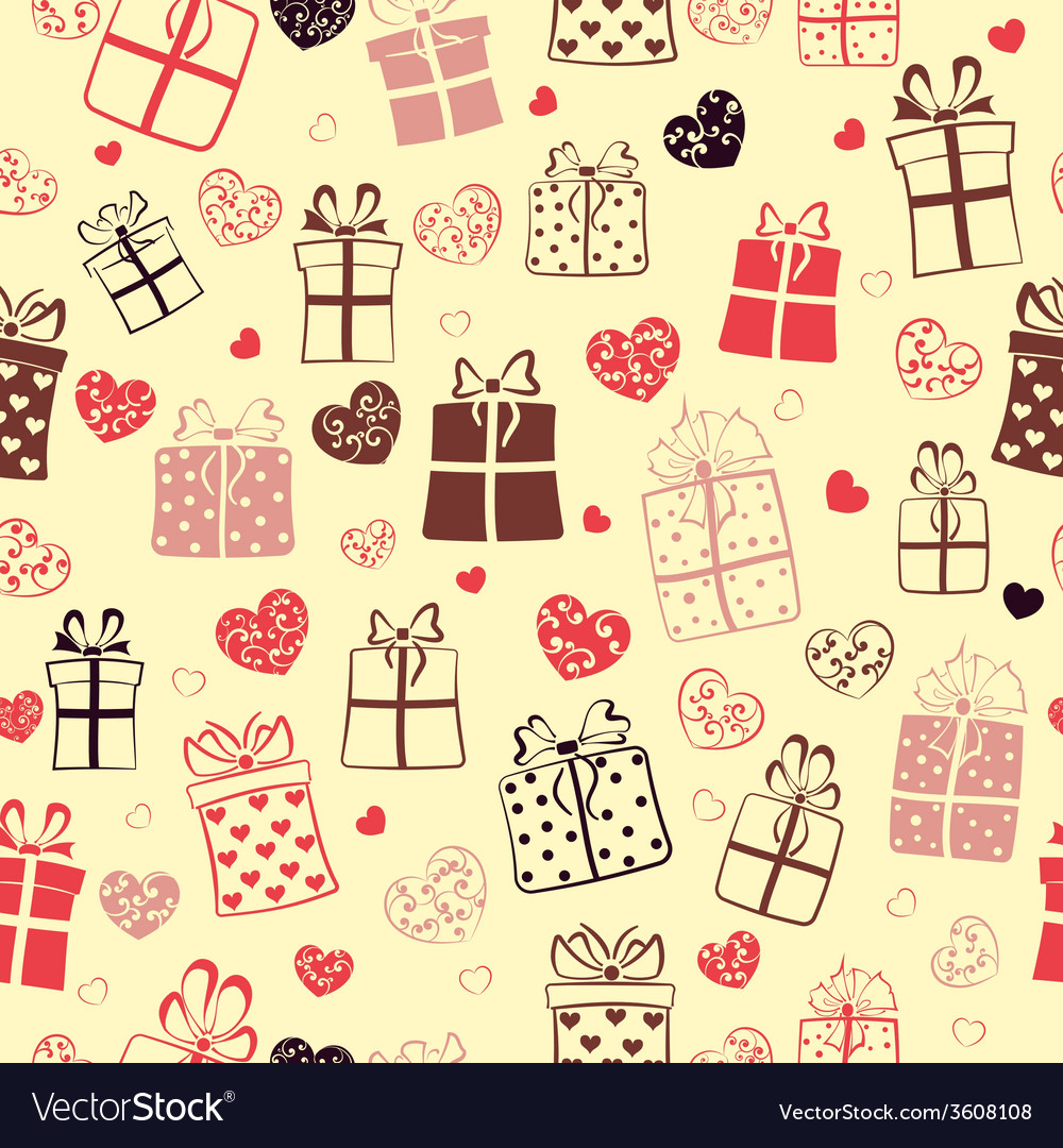 Seamless pattern of hearts and gift boxes vector | Price: 1 Credit (USD $1)