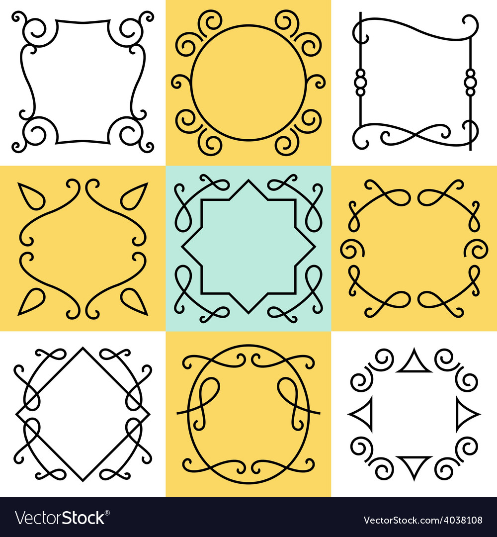Set of outline borders and frames abstract vector | Price: 1 Credit (USD $1)
