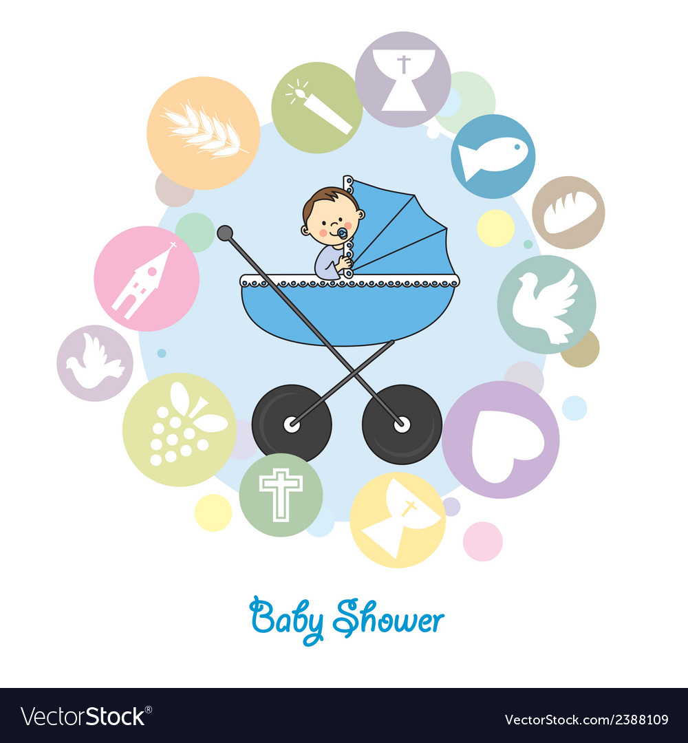 Baby boy baptism invitation card vector | Price: 1 Credit (USD $1)