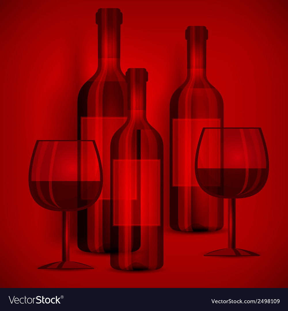 Bottles wine and glasses on vector | Price: 1 Credit (USD $1)