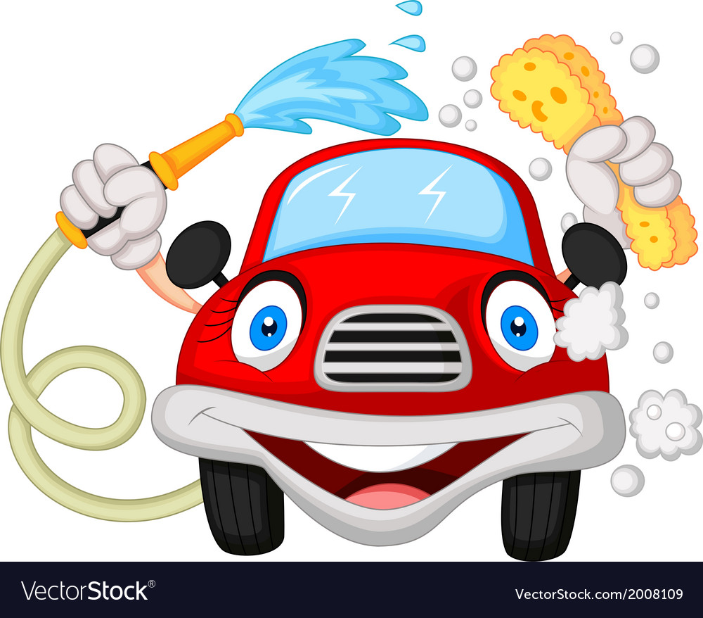 Cartoon car washing with water pipe and sponge vector | Price: 1 Credit (USD $1)