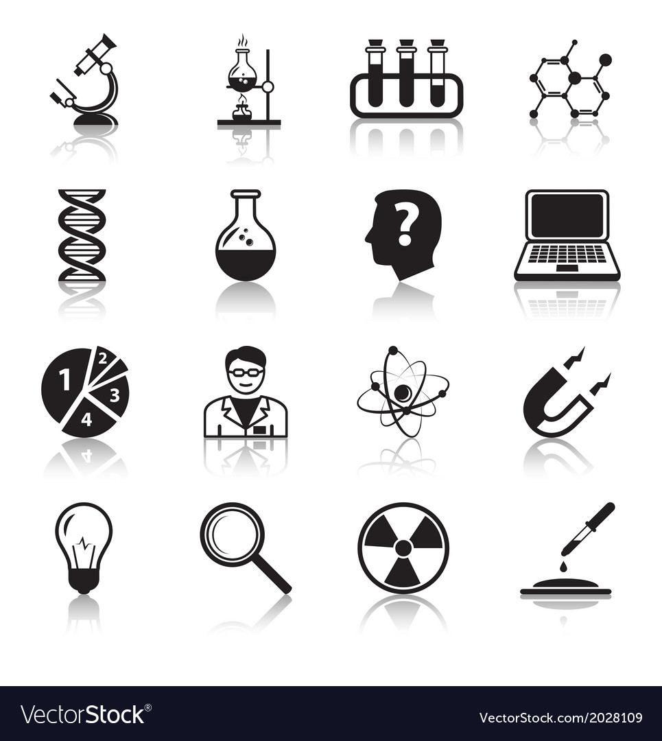 Chemistry or biology science icons set vector | Price: 1 Credit (USD $1)