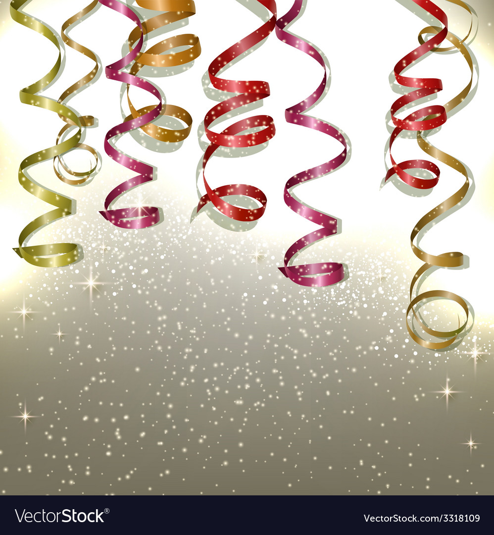 Colorful confetti and ribbons holiday background vector | Price: 3 Credit (USD $3)