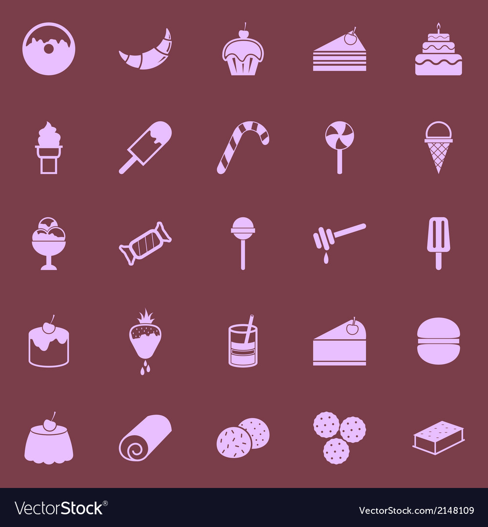 Dessert color icons on dark background vector | Price: 1 Credit (USD $1)