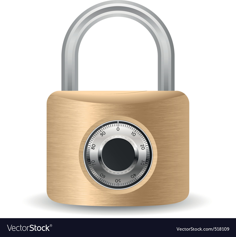 Metallic combination padlock vector | Price: 1 Credit (USD $1)