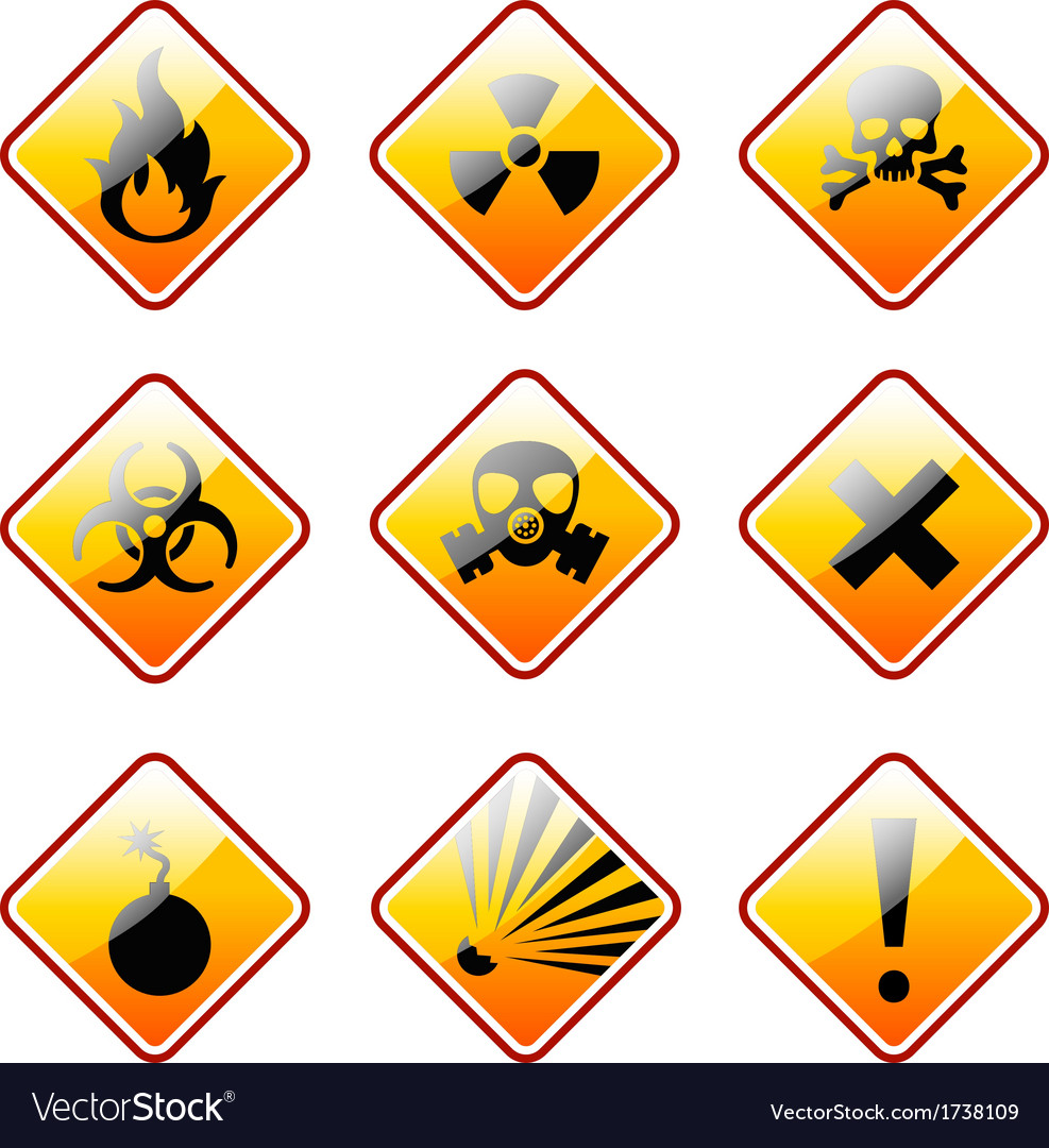 Orange warning signs vector | Price: 1 Credit (USD $1)