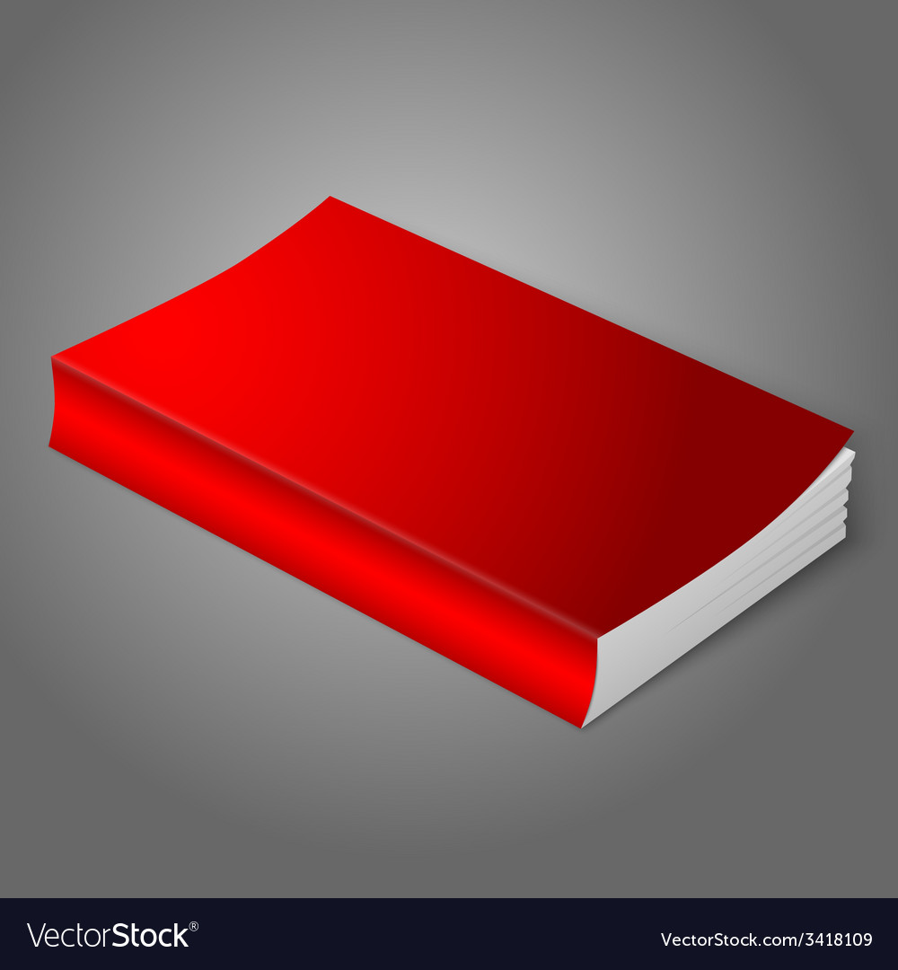 Realistic bright red blank softcover book isolated vector | Price: 1 Credit (USD $1)