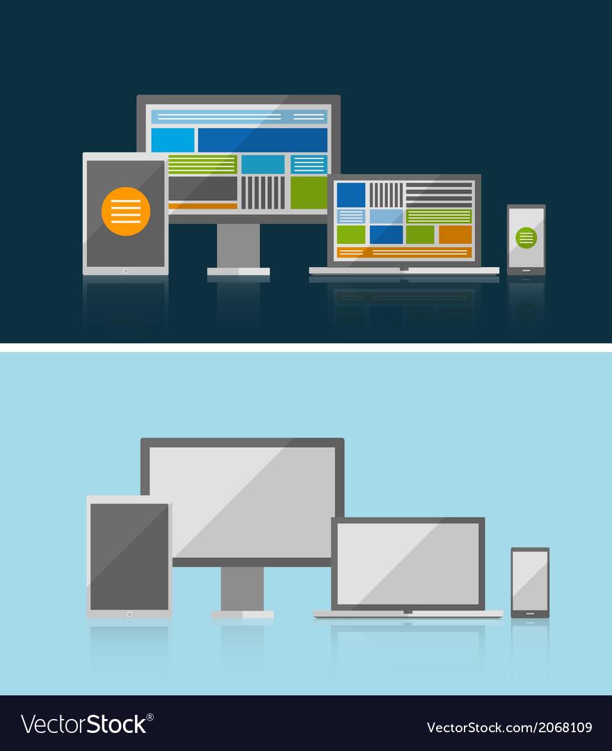 Responsive ui flat design concept vector | Price: 1 Credit (USD $1)