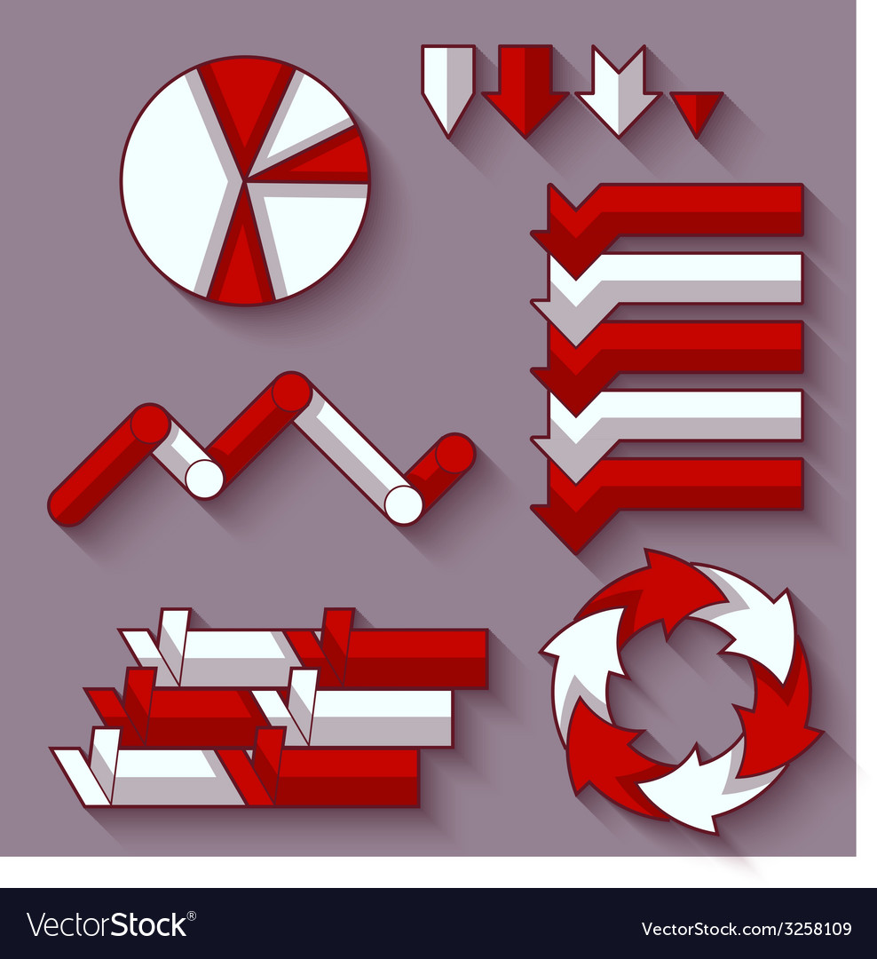 Set of arrows and diagram for infographic vector | Price: 1 Credit (USD $1)