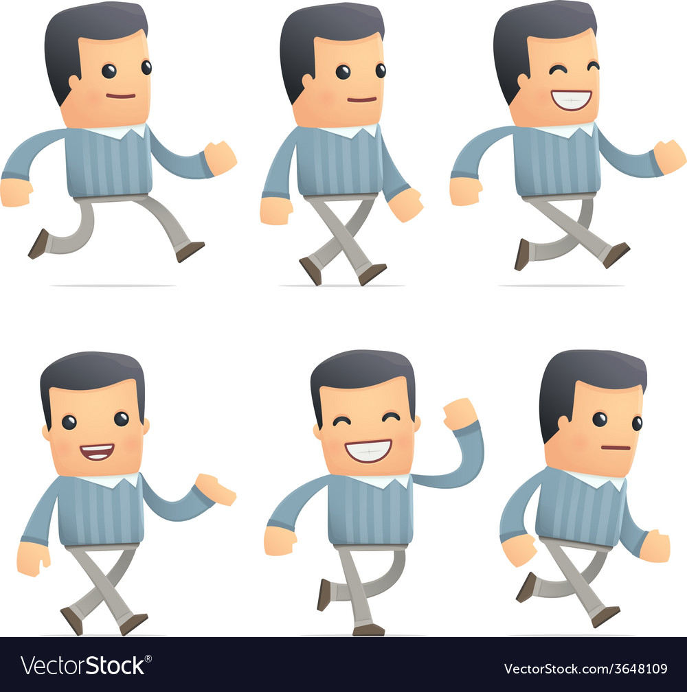 Set of customer character in different poses vector | Price: 1 Credit (USD $1)