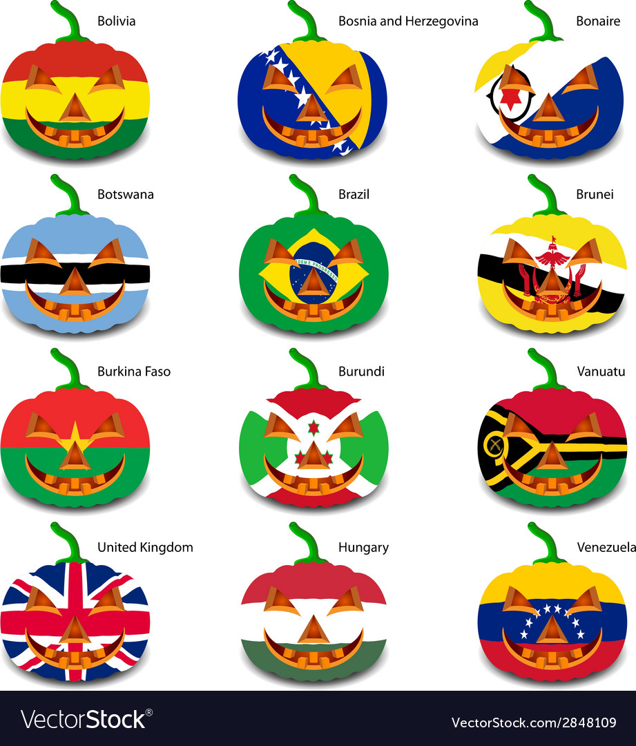 Set pumpkins for halloween as a flags of the world vector | Price: 1 Credit (USD $1)