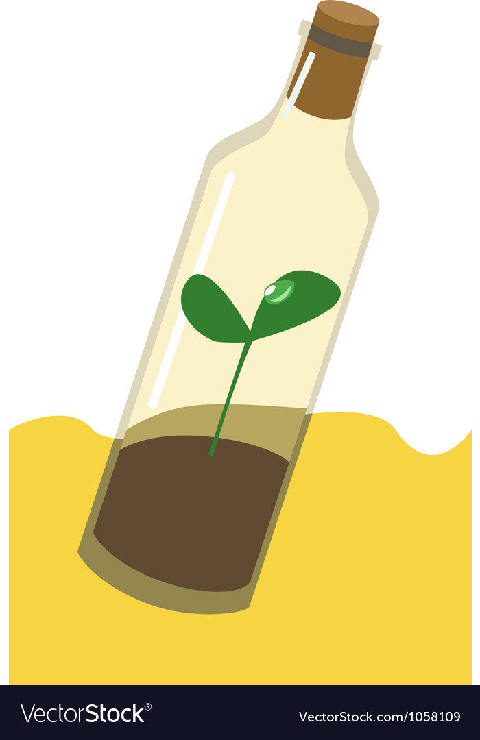 Sprout in the bottle drought ecology vector | Price: 1 Credit (USD $1)