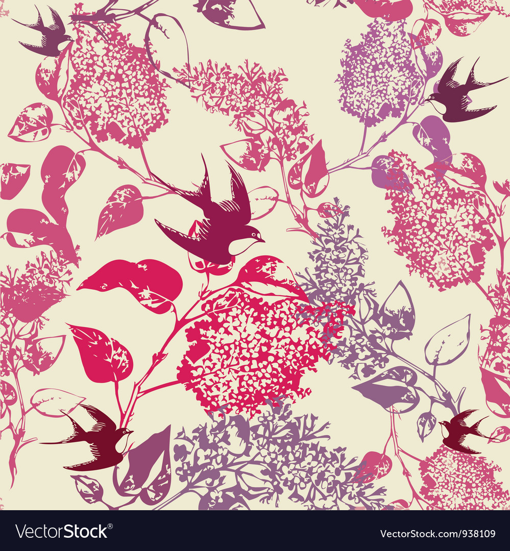 Vintage swallows pattern vector | Price: 1 Credit (USD $1)