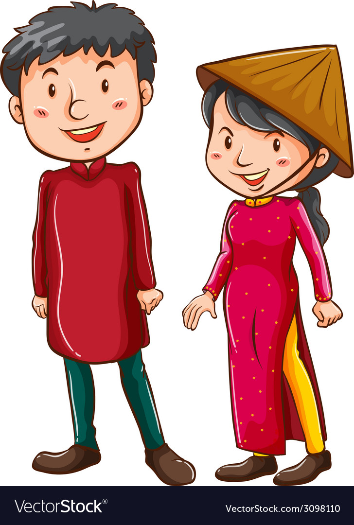 A girl and a boy wearing the asian costumes vector | Price: 1 Credit (USD $1)